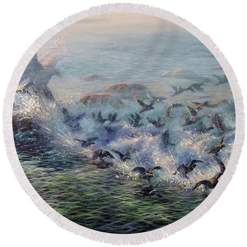 Eagle Round Beach Towel featuring the painting To Find Salvation by Valentin Katrandzhiev