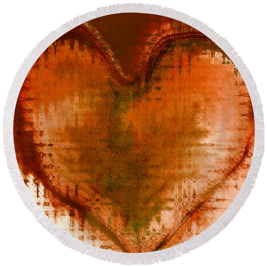 Love Art Round Beach Towel featuring the digital art To Heart by Linda Sannuti