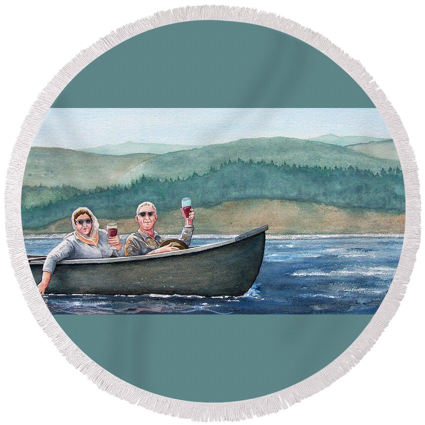 Canoe Round Beach Towel featuring the painting To Life by Gale Cochran-Smith