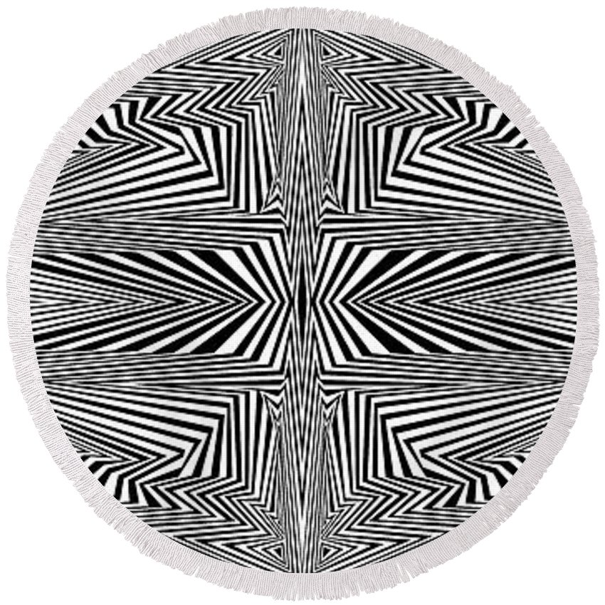 Dynamic Black And White Round Beach Towel featuring the painting To Market To Market by Douglas Christian Larsen