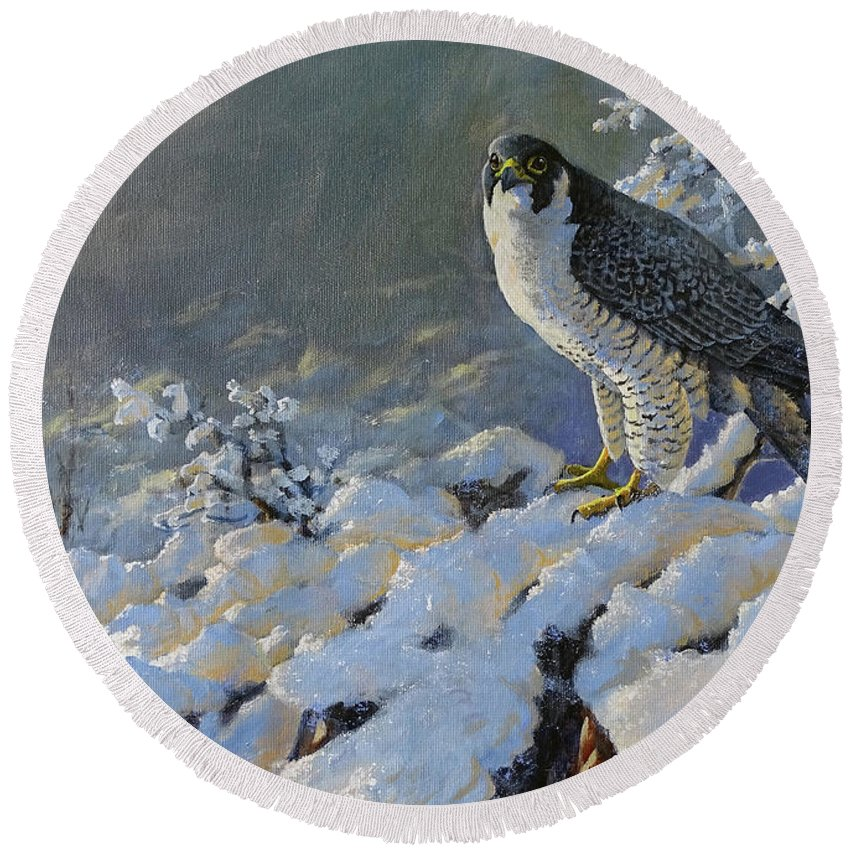 Peregrine Falcon Round Beach Towel featuring the painting To Survive The Winter by Valentin Katrandzhiev