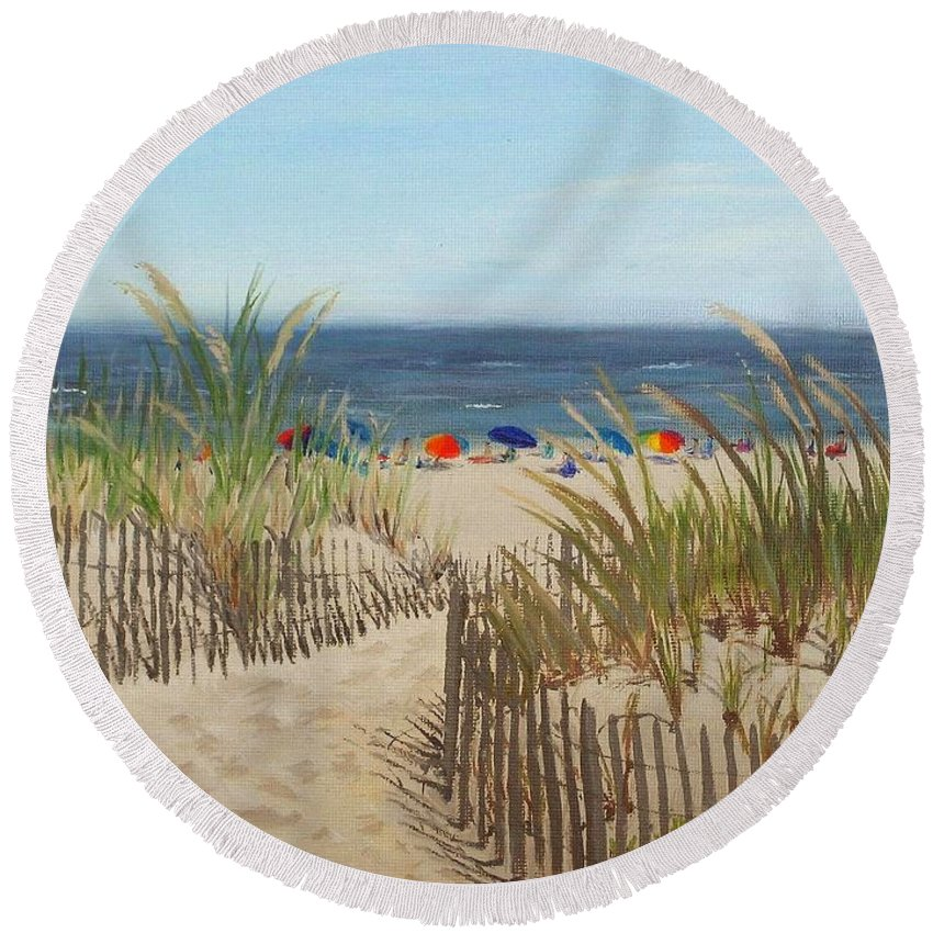 Beach Round Beach Towel featuring the painting To The Beach by Lea Novak