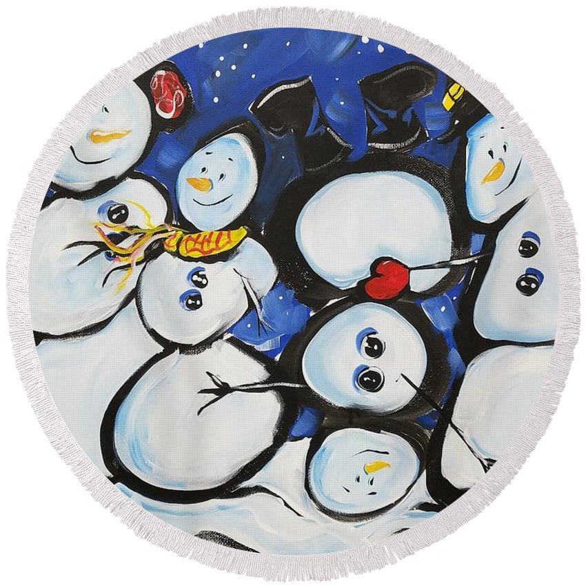 Snow Round Beach Towel featuring the painting To The Beat Of A Different Drum by Terri Einer