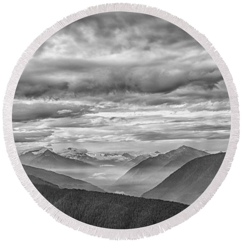 Mountain Round Beach Towel featuring the photograph To The Ends Of The Earth by Mitch Spence