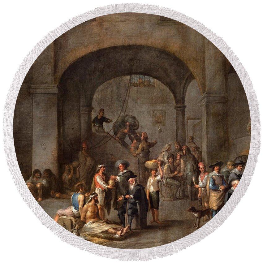Cornelis De Wael Round Beach Towel featuring the painting To Visit The Imprisoned by Cornelis de Wael