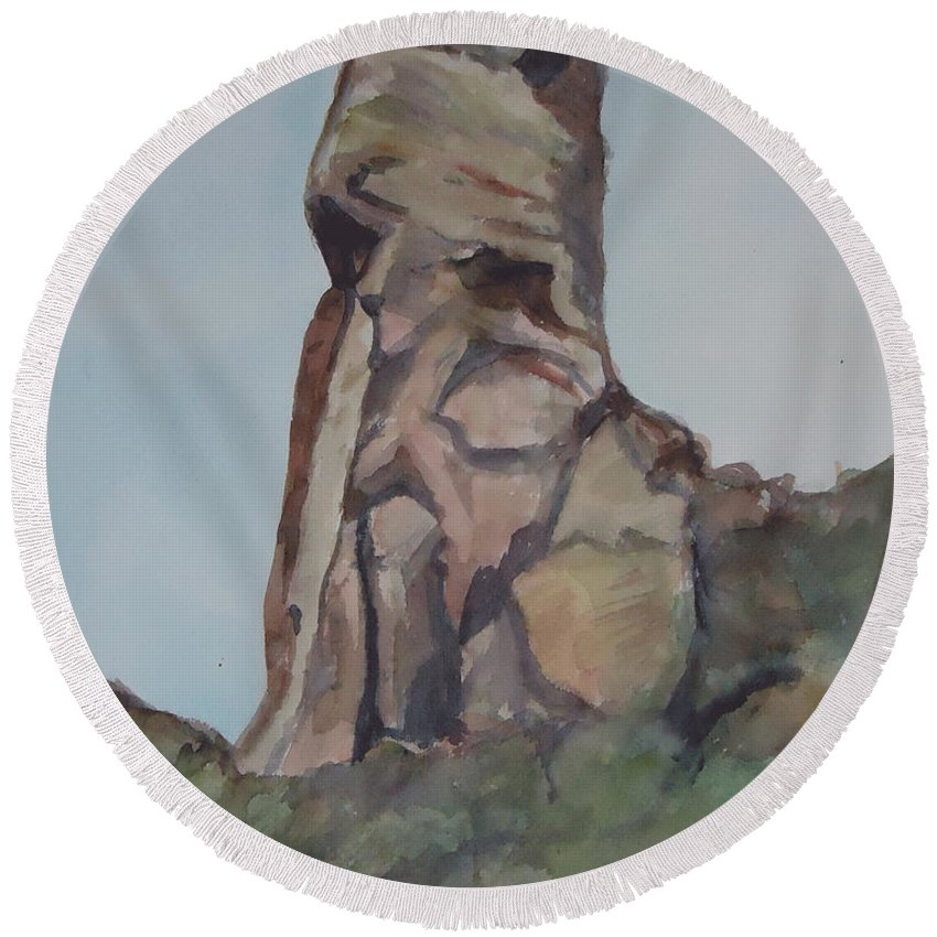 Rock Formation Round Beach Towel featuring the painting Toad Rock by Charme Curtin