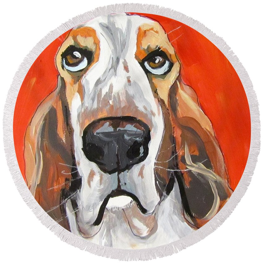 Dog Round Beach Towel featuring the painting Toby by Barbara O'Toole