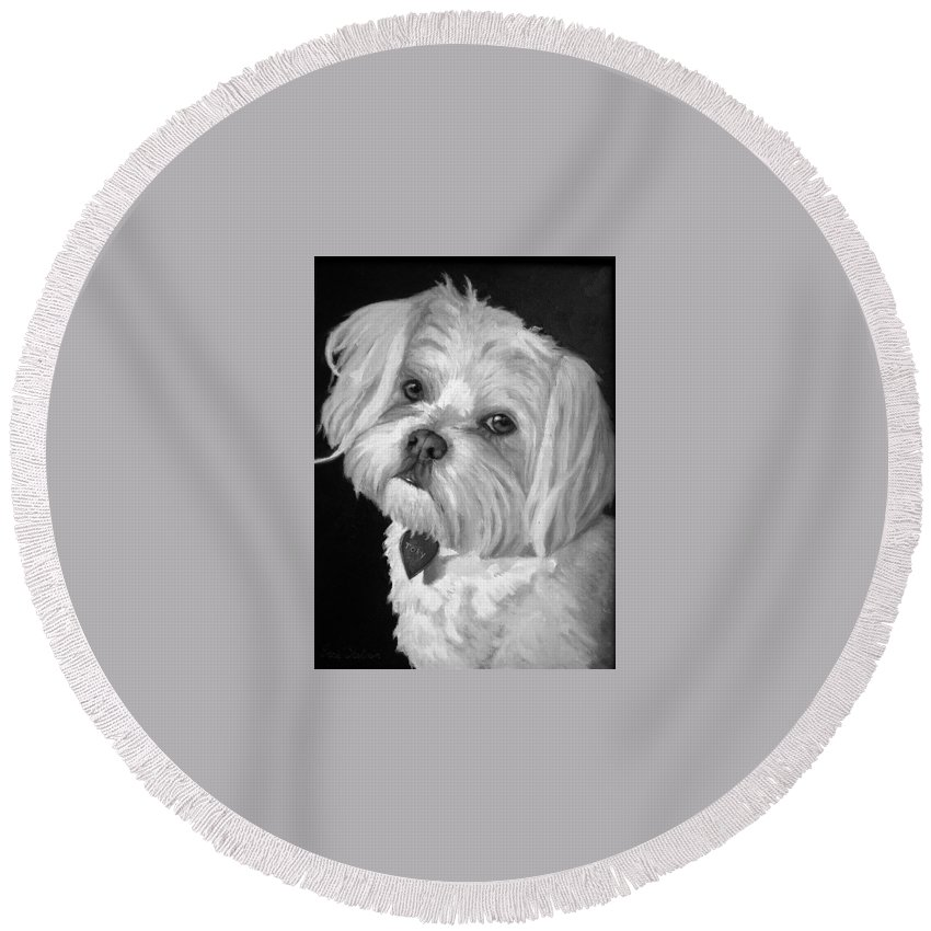 Dogs Round Beach Towel featuring the painting Toby by Portraits By NC