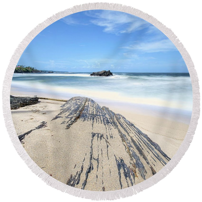 Beach Round Beach Towel featuring the photograph Toco Beach by Nadia Sanowar