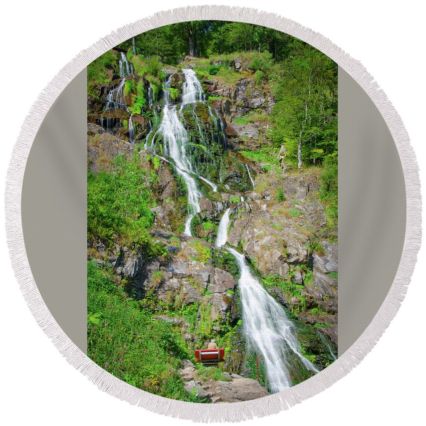 Waterfall Round Beach Towel featuring the photograph Todtnau Waterfall, Black Forest, Germany by Ina Kratzsch