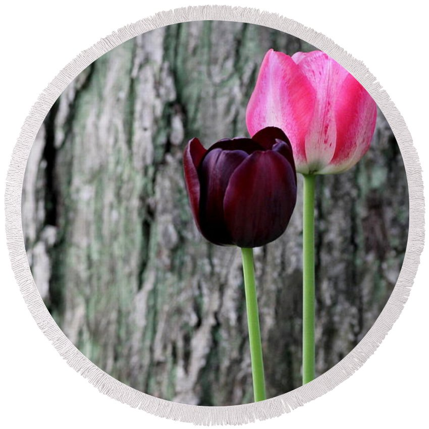 Flowers Round Beach Towel featuring the photograph Together by Deborah Crew-Johnson