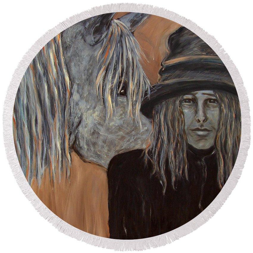 Katt Yanda Original Art Horse Womans Portrait Oil Painting Canvas Tophat Black Coat Grey Pony Orange Mane Round Beach Towel featuring the painting Together by Katt Yanda