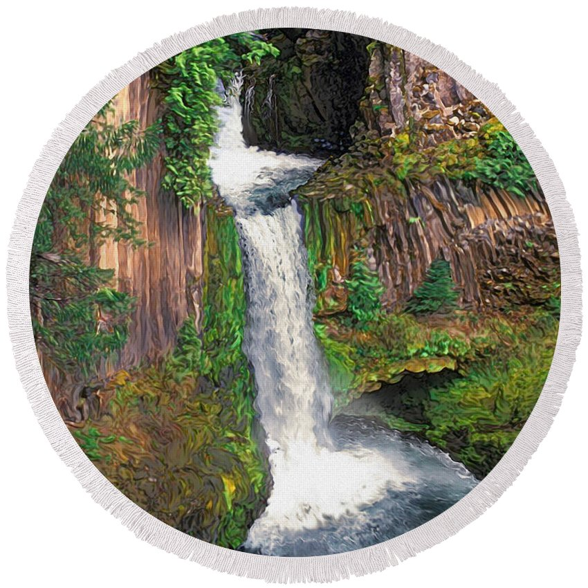 Toketee Falls Round Beach Towel featuring the painting Toketee Falls by Todd L Thomas