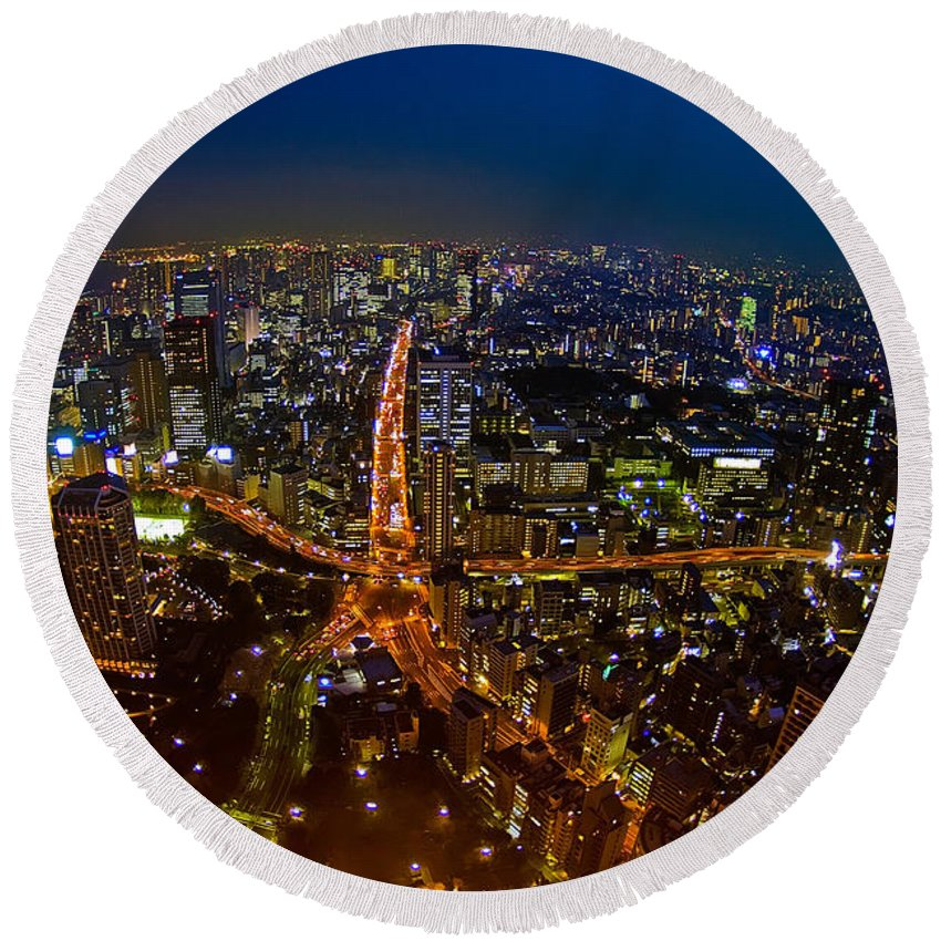 Tokyo Round Beach Towel featuring the photograph Tokyo At Night by Dan Wells