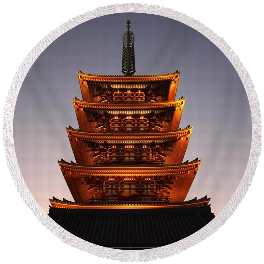 Tokyo Round Beach Towel featuring the photograph Tokyo Temple Lights by Carol Groenen