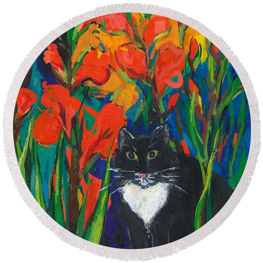 Cat Round Beach Towel featuring the painting Tom And Gladioli by Sarah Gillard