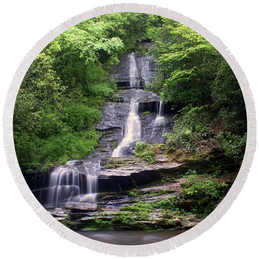 Waterfalls Round Beach Towel featuring the photograph Tom Branch Falls by Marty Koch