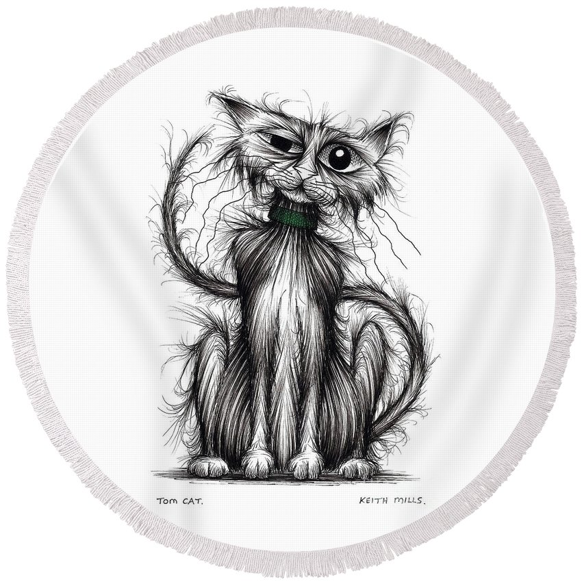 Tom Cat Round Beach Towel featuring the drawing Tom Cat by Keith Mills