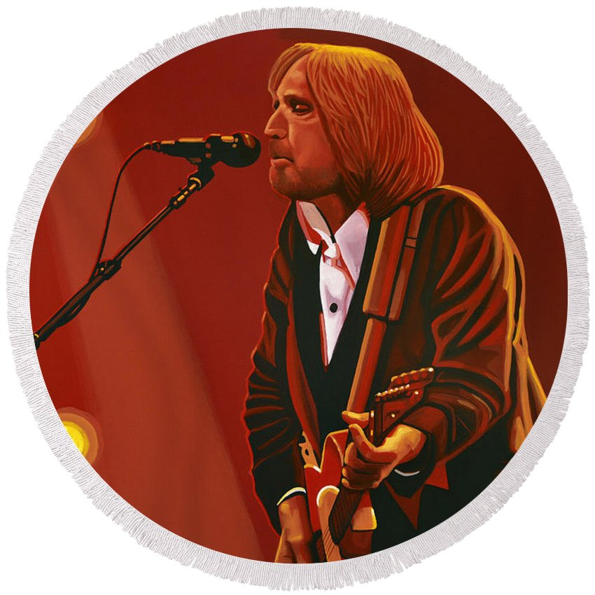 Tom Petty Round Beach Towel featuring the painting Tom Petty by Paul Meijering