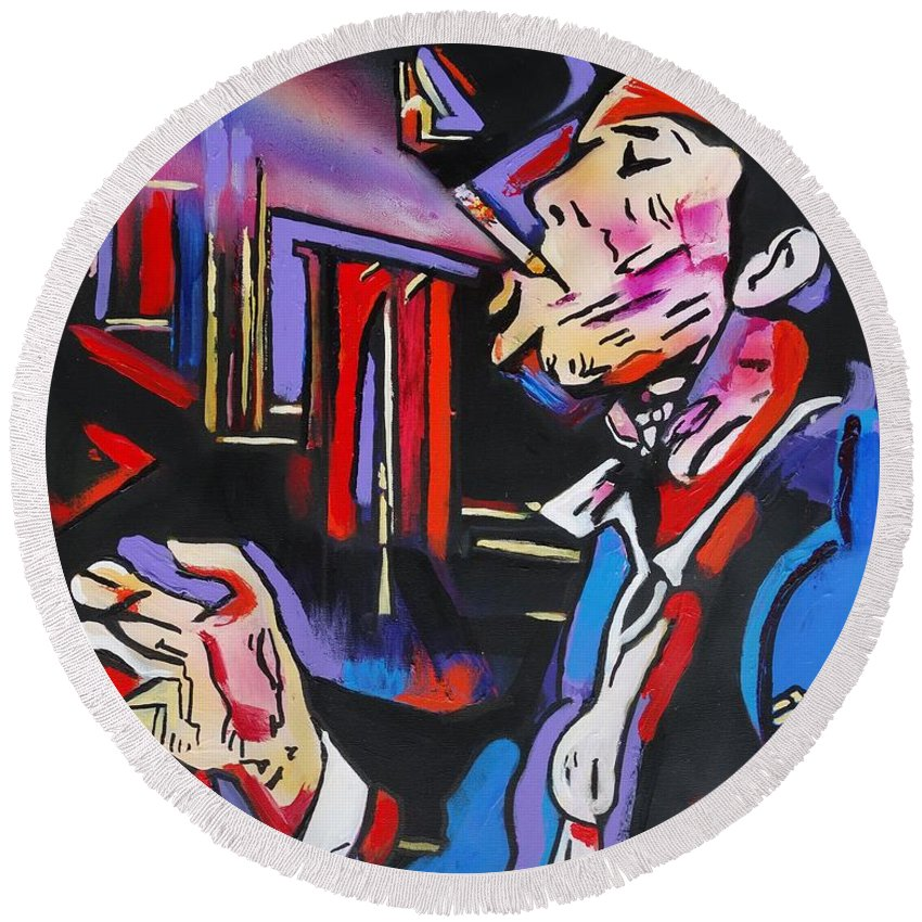 Tom Waits Round Beach Towel featuring the painting Tom Traubert's Blues by Eric Dee