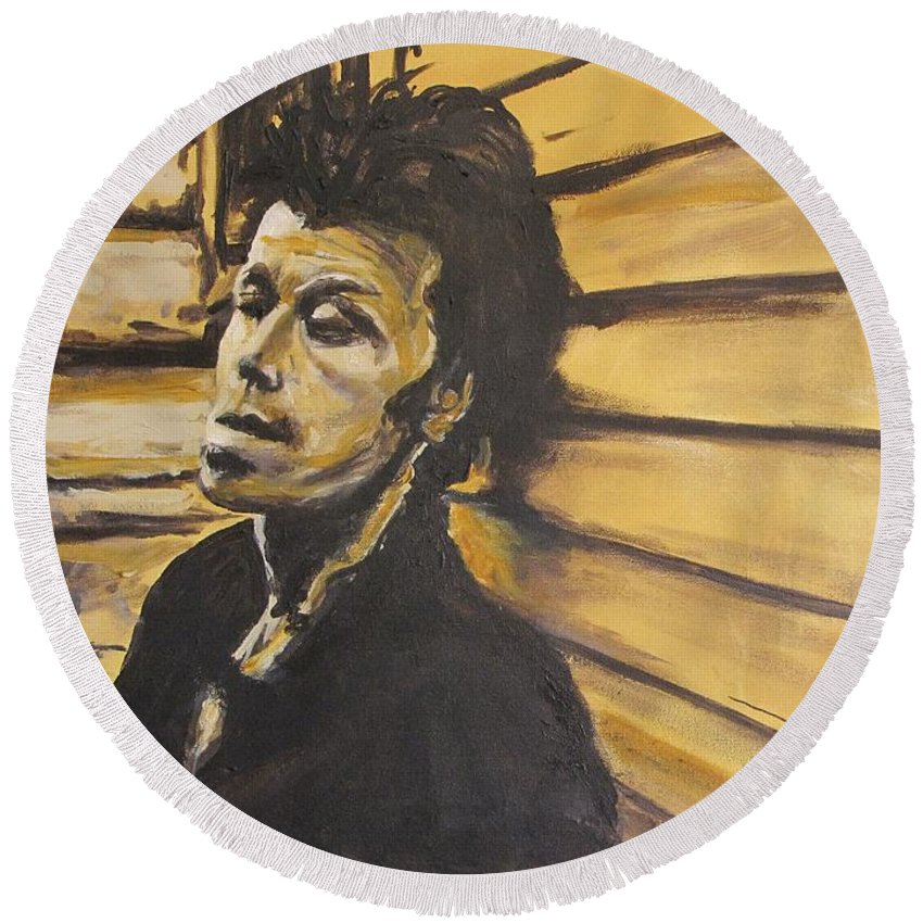 Tom Waits Round Beach Towel featuring the painting Tom Waits by Eric Dee
