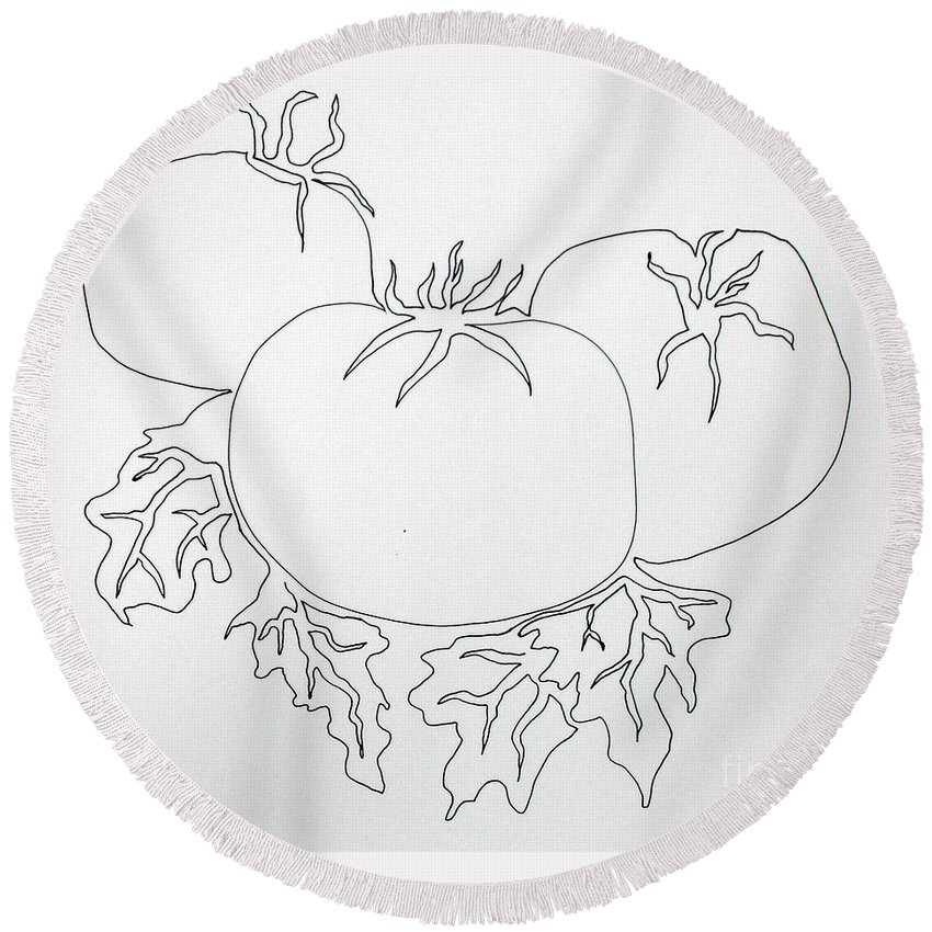Drawing Round Beach Towel featuring the painting Tomatoes On A Vine In One Line by Vicki Housel