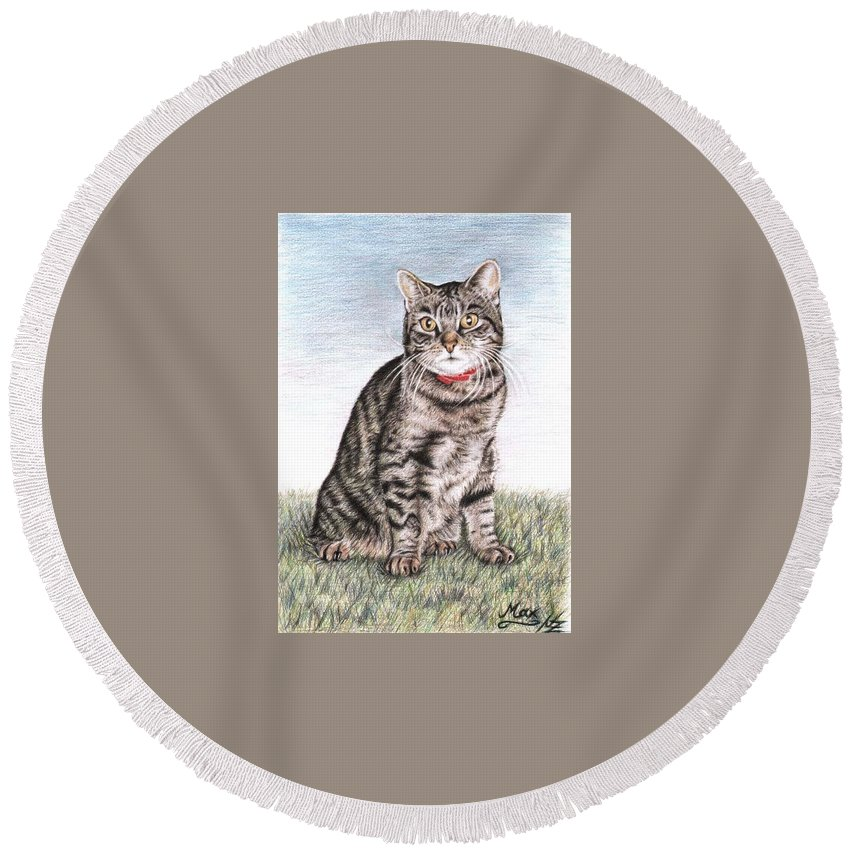 Cat Round Beach Towel featuring the drawing Tomcat Max by Nicole Zeug
