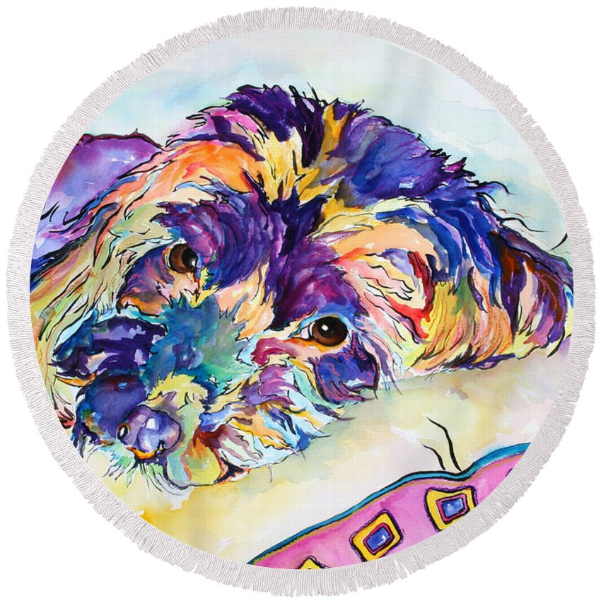Pat Saunders-white Round Beach Towel featuring the painting Tonka by Pat Saunders-White