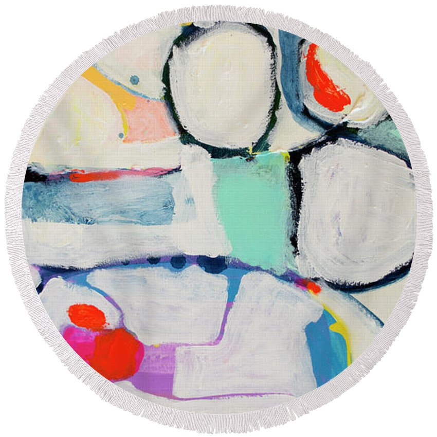 Abstract Round Beach Towel featuring the painting Tongue Tied by Claire Desjardins