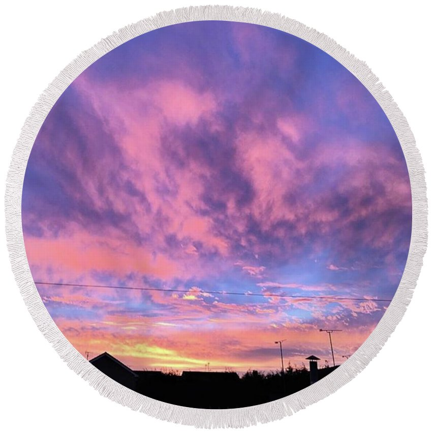 Natureonly Round Beach Towel featuring the photograph Tonight's Sunset Over Tesco :) #view by John Edwards