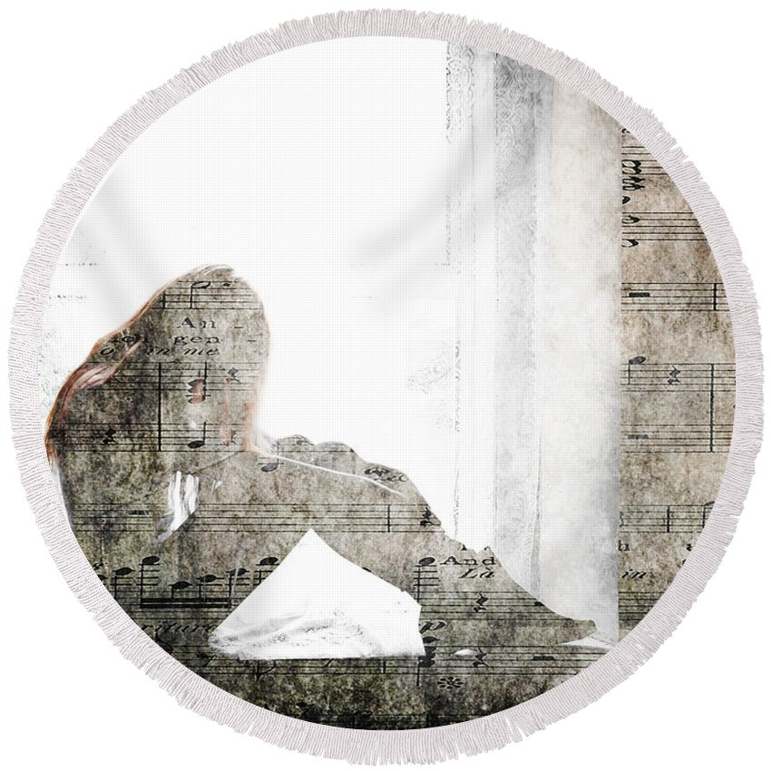 Tone Round Beach Towel featuring the photograph Tons Of The Loneliness by Alex Art and Photo