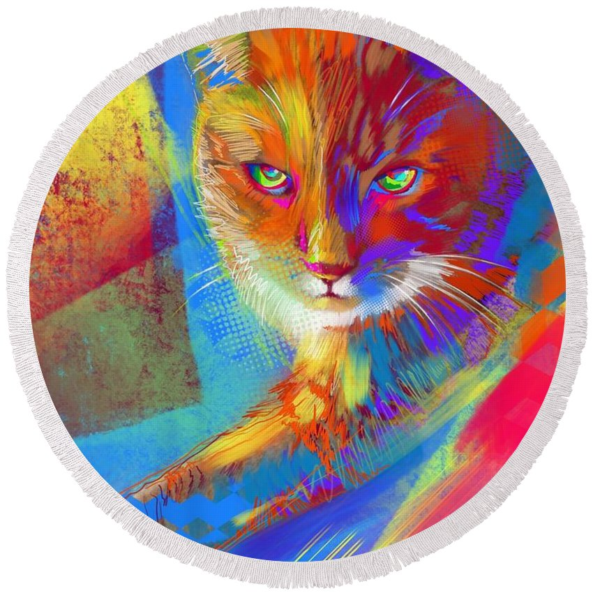 Cat Round Beach Towel featuring the painting Tony Bagga Donuts by John Castell