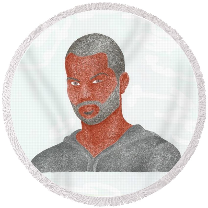 Basketball Round Beach Towel featuring the drawing Tony Parker by Toni Jaso
