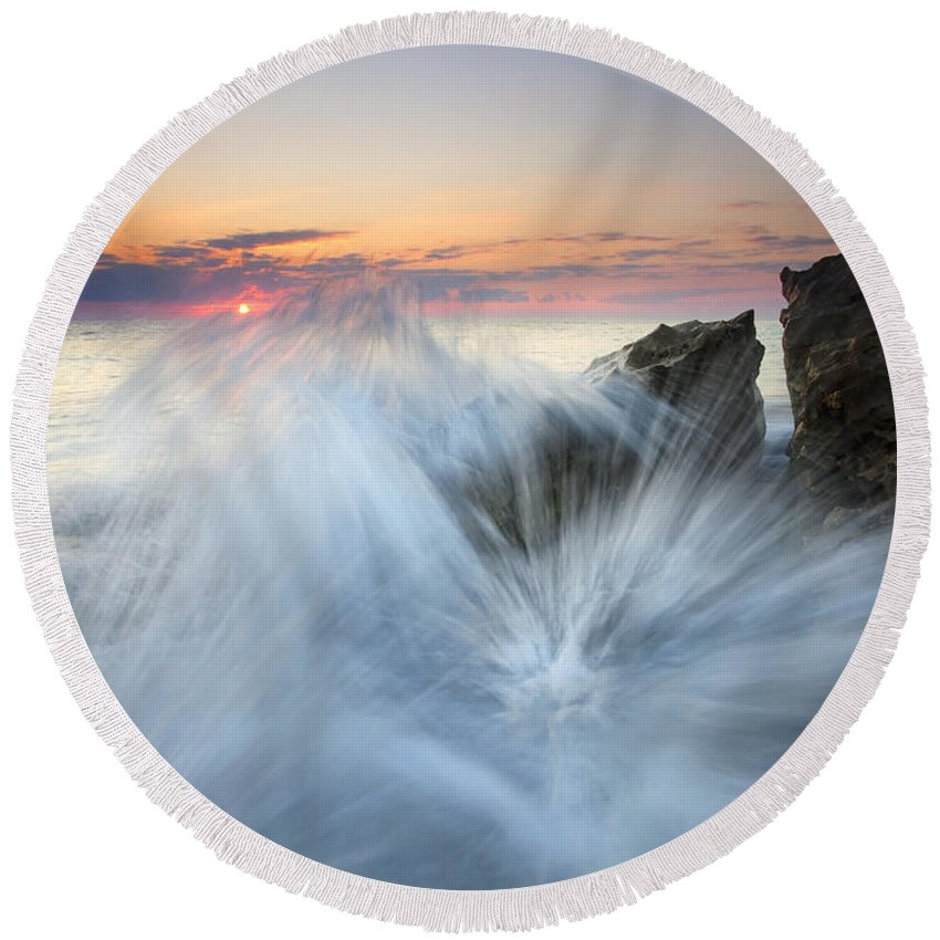 Sunrise Round Beach Towel featuring the photograph Too Close For Comfort by Mike Dawson