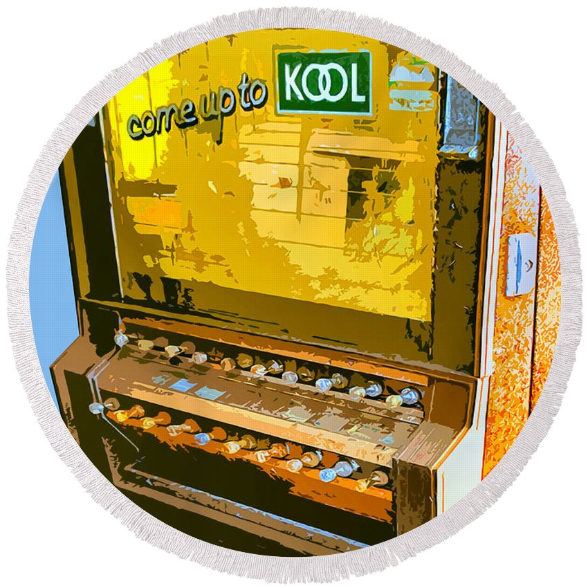 Cigarette Machine Round Beach Towel featuring the photograph Too Kool by Dominic Piperata