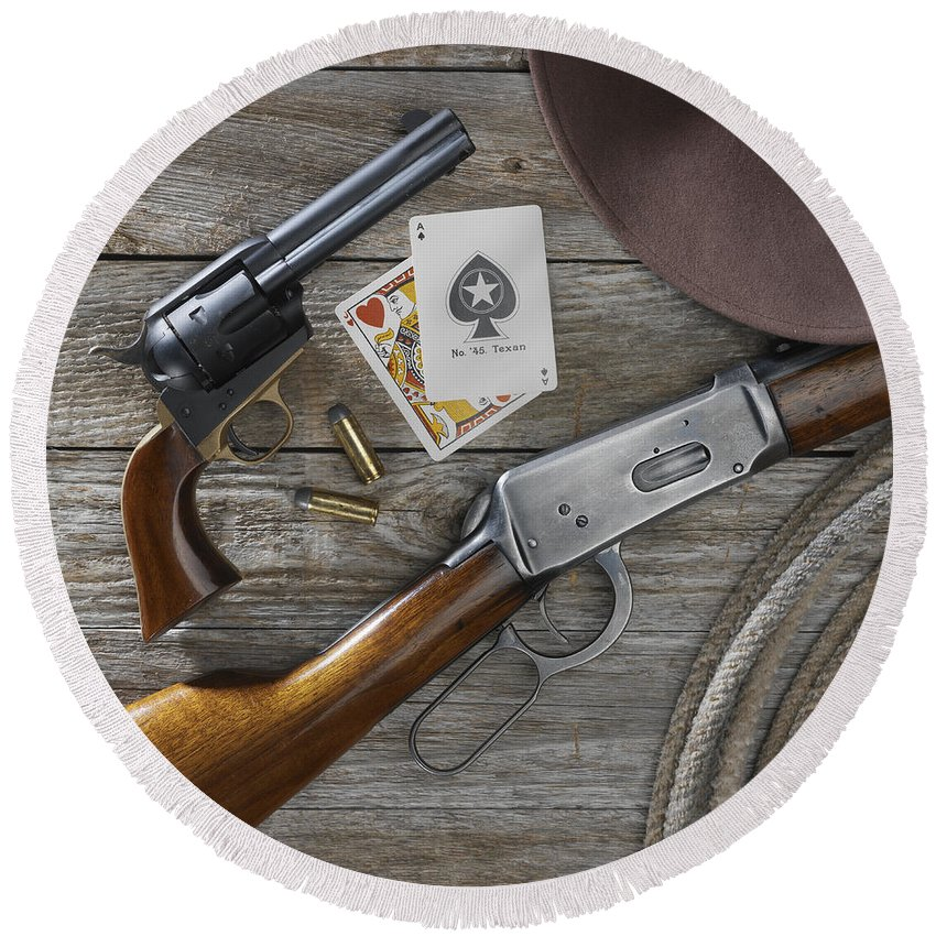 Old West Round Beach Towel featuring the photograph Tools Of The Trade by Jerry McElroy