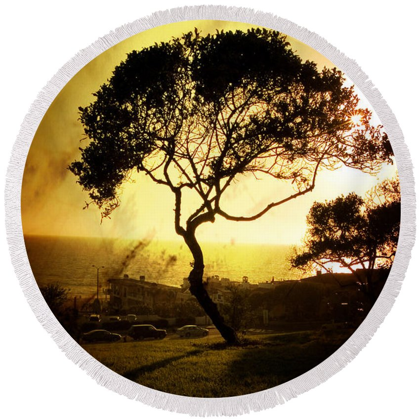 Tree Round Beach Towel featuring the photograph Top Of The Hill by Scott Pellegrin