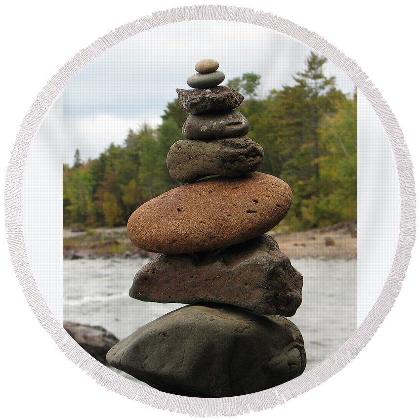 Rocks Round Beach Towel featuring the photograph Top Of The Stack by Kelly Mezzapelle