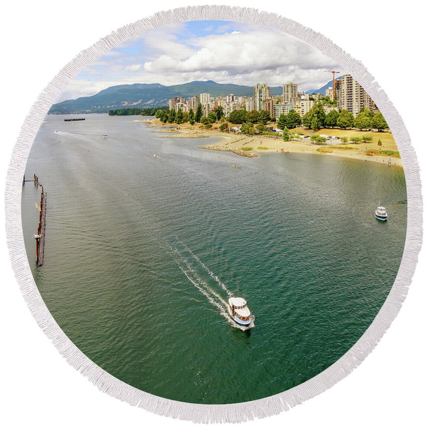 Ocean Round Beach Towel featuring the photograph Top View Of English Bay In Summer, Vancouver Bc. by Viktor Birkus