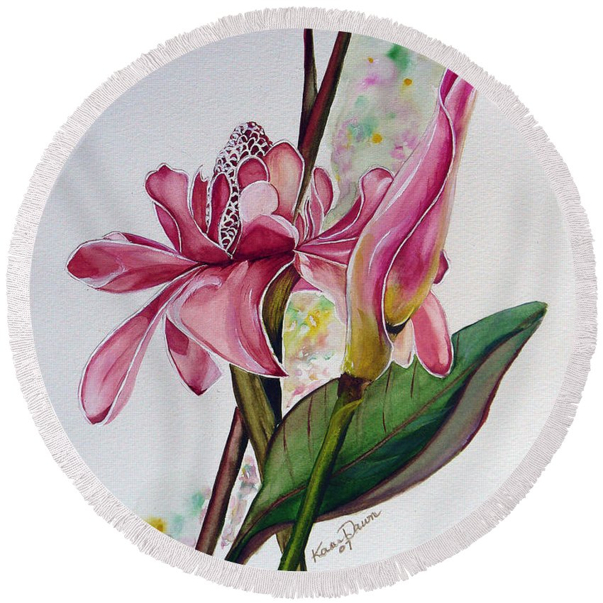 Flower Painting Floral Painting Botanical Painting Flowering Ginger. Round Beach Towel featuring the painting Torch Ginger Lily by Karin Dawn Kelshall- Best