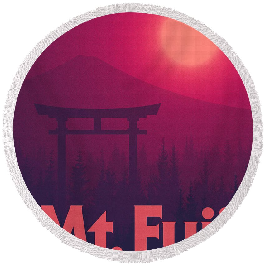 Torii Round Beach Towel featuring the digital art Torii Gate Japan - Magenta by Ivan Krpan