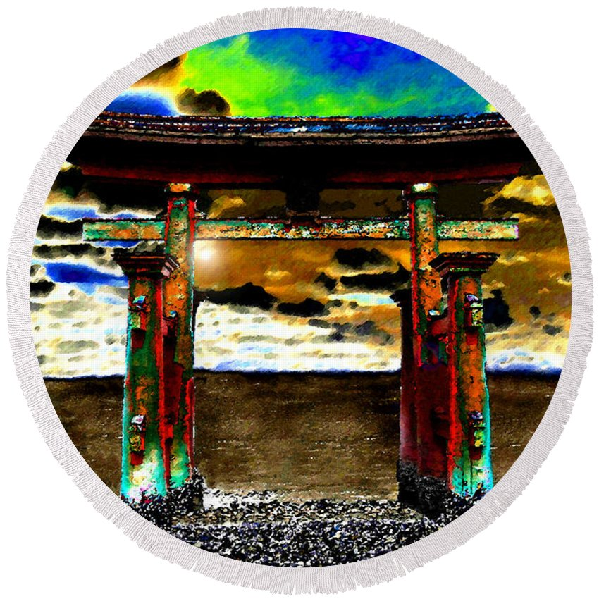 Art Round Beach Towel featuring the painting Torii Sunrise by David Lee Thompson