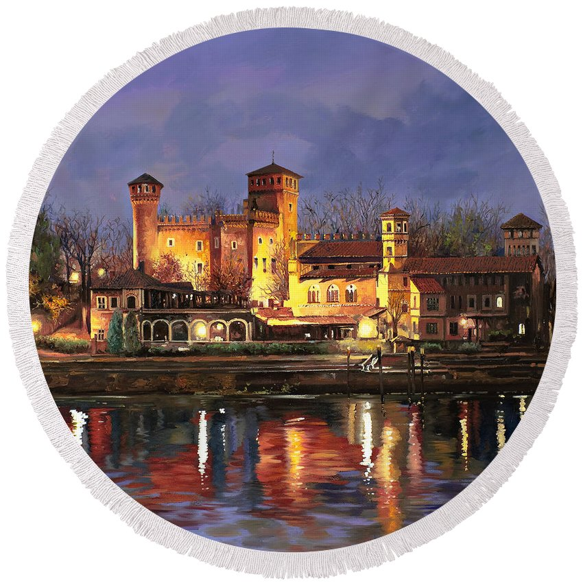 Castle Round Beach Towel featuring the painting Torino-il Borgo Medioevale Di Notte by Guido Borelli