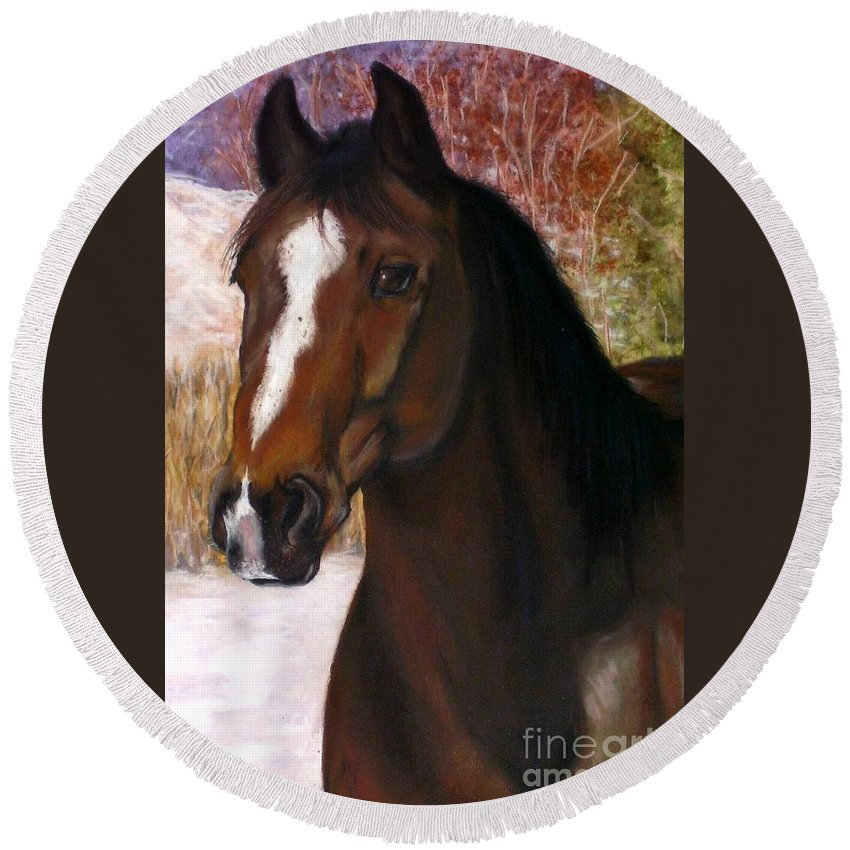 Horse Round Beach Towel featuring the painting Toronto by Frances Marino