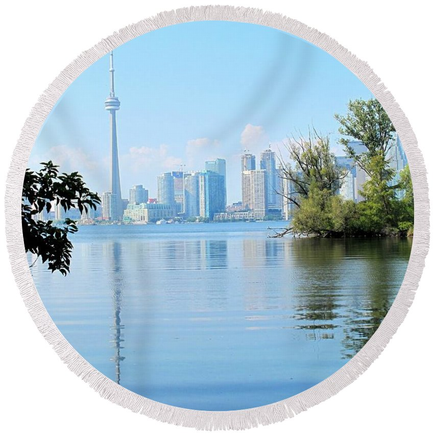 Toronto Round Beach Towel featuring the photograph Toronto From The Islands Park by Ian MacDonald
