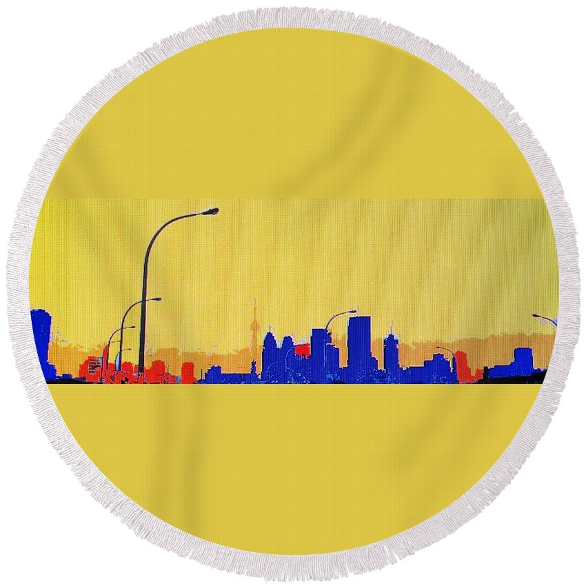 Toronto Round Beach Towel featuring the photograph Toronto Lemon Skyline by Ian MacDonald