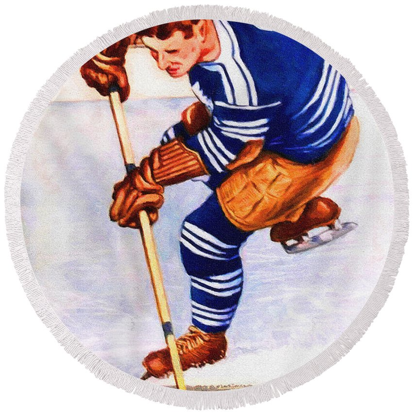 Toronto Round Beach Towel featuring the painting Toronto Maple Leafs Vintage Program Two by John Farr