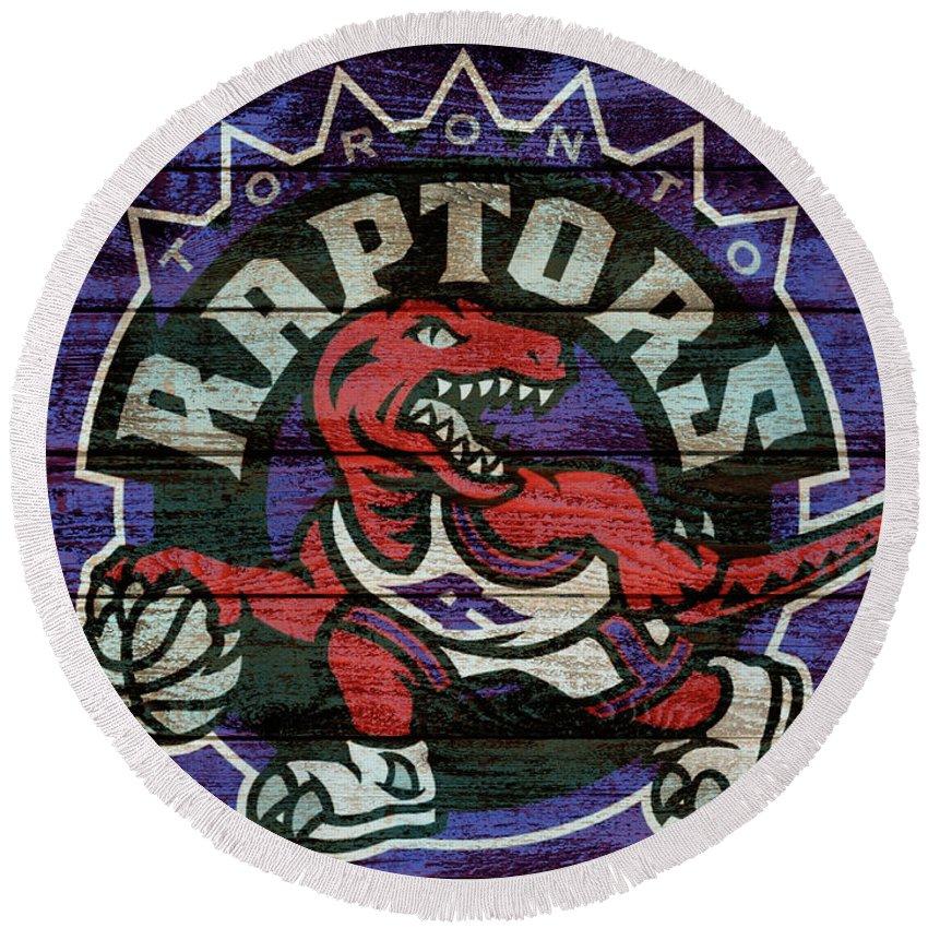Toronto Raptors Barn Door Round Beach Towel featuring the mixed media Toronto Raptors Barn Door by Dan Sproul
