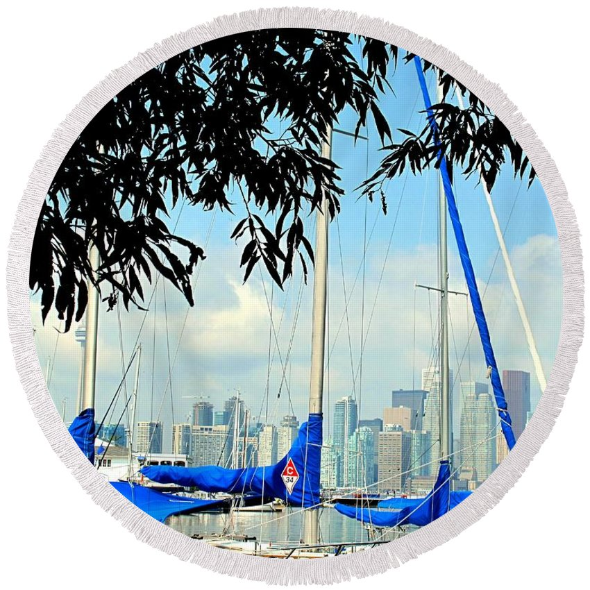 Toronto Round Beach Towel featuring the photograph Toronto Through A Forest Of Masts by Ian MacDonald