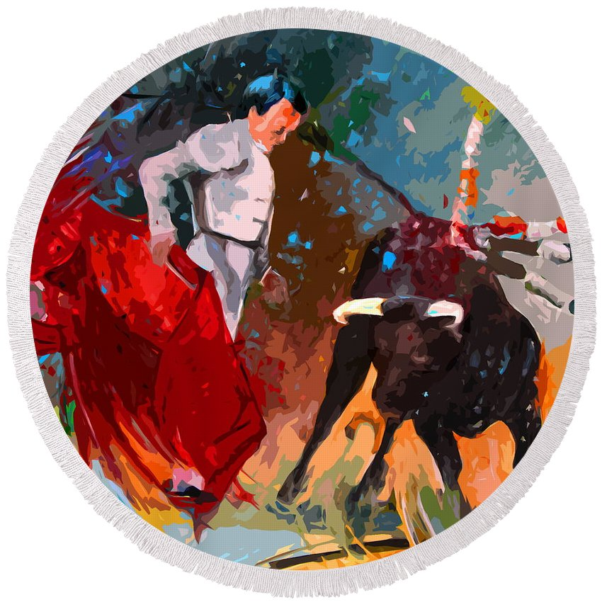 Bullfight Round Beach Towel featuring the painting Toroscape 05 by Miki De Goodaboom